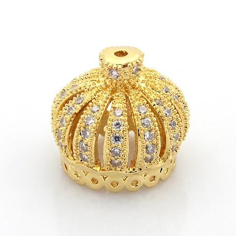 Бусина подвеска корона c цирконами 16х16 мм цвет золото