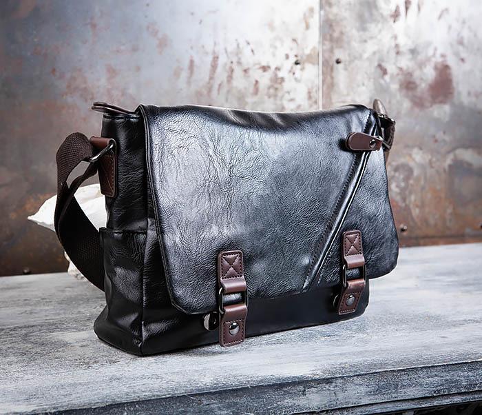 23007048657c BAG451-1 Мужской портфель из черной кожи с ремнем