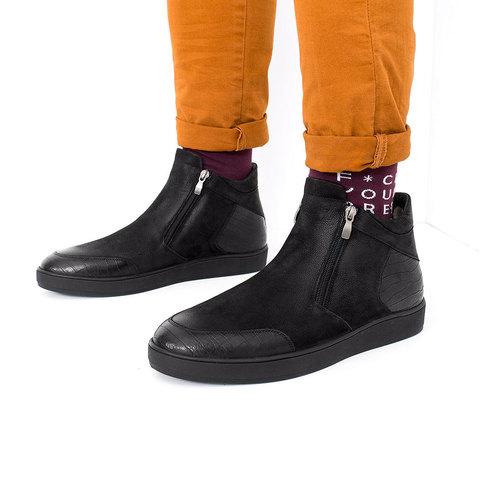 Мужские зимние ботинки из нубука на двух молниях с подкладкой из натурального меха