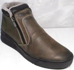 Зимние ботинки на толстой подошве мужские Rifellini Rovigo 046 Brown Black.