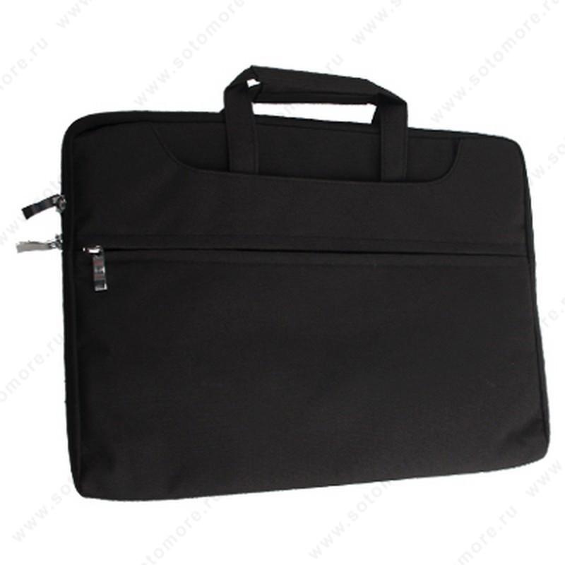 Чехол-сумка для ноутбука 15 Дюймов тканевая с ручками черный