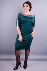 Клео. Красивое платье больших размеров. Изумруд.