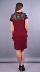 Ваниль. Комбинированное платье плюс сайз. Бордо.