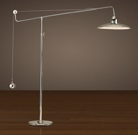 1940s Architect's Boom Floor Lamp - Polished Nickel