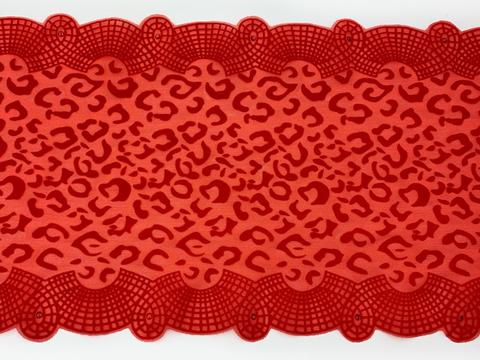 Кружево эластичное красное 21 см (флок со стразами)