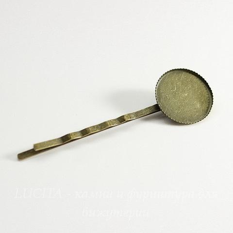 Основа для заколки - невидимки 64 мм с сеттингом для кабошона 18 мм (цвет - античная бронза)