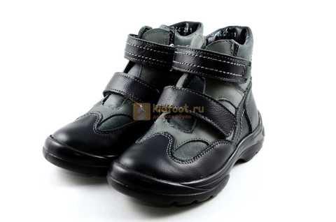 Ботинки Тотто из натуральной кожи демисезонные на байке для мальчиков, цвет черный. Изображение 6 из 11.