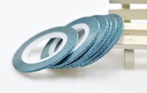 Лента самоклеющаяся голубой глиттер 2мм