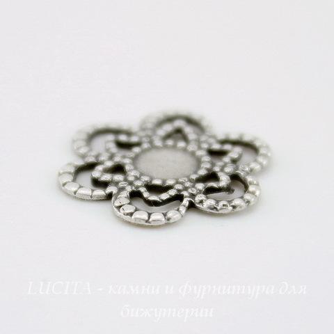 """Сеттинг - основа """"Цветочек"""" для камеи или страза 4 мм (оксид серебра)"""