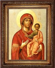 Смоленская икона Божьей Матери на холсте.