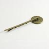 Основа для заколки - невидимки с сеттингом для кабошона 18 мм, 64 мм (цвет - античная бронза)