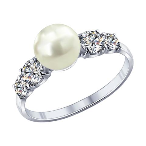 Кольцо из серебра с жемчугом и фианитами арт.94011762