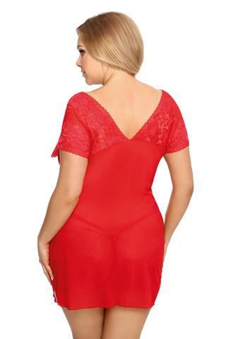 Эротическая женская сорочка для полных красная