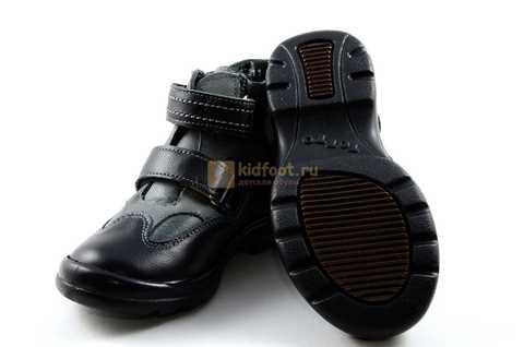 Ботинки Тотто из натуральной кожи демисезонные на байке для мальчиков, цвет черный. Изображение 10 из 11.
