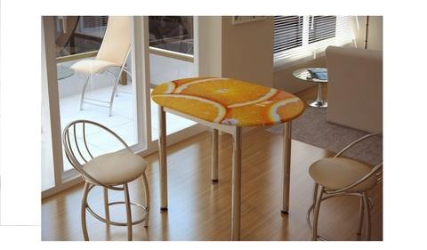 Стол обеденный с принтом Цитрус Белый/цитрус