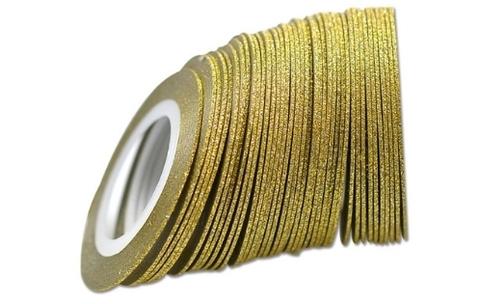 Лента самоклеющаяся золото глиттер 1мм