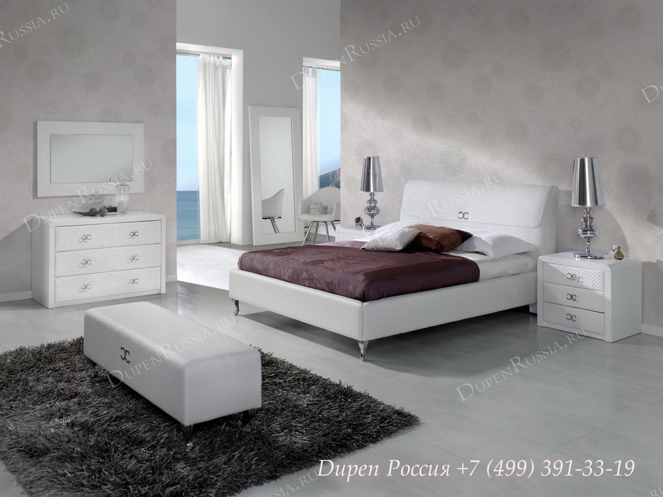 Кровать Dupen 887 EMILY,Комод DUPEN С-122 Белый, Зеркало DUPEN E-96 белое, Тумба прикроватная DUPEN М-122 Белая