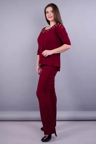 Фрида. Стильный костюм plus size для женщин. Бордо.