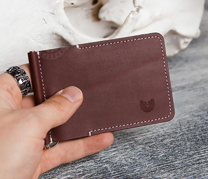 WL284-3 Мужской кожаный зажим для купюр ручной работы фото 10