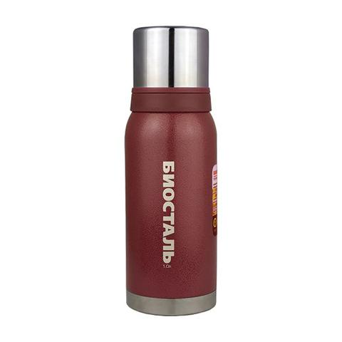 Термос Biostal Охота (1 литр), 2 чашки, красный