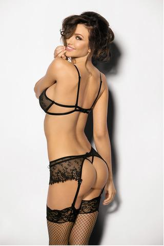 Атласный эротический красивый черный комплект белья Angels Never Sin с кружевом с поясом для чулок вид сзади