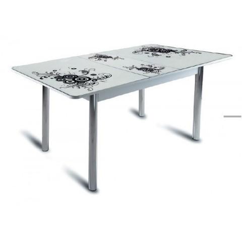 Стол обеденный Грация с микролифтом стеклянный прямоугольный белый