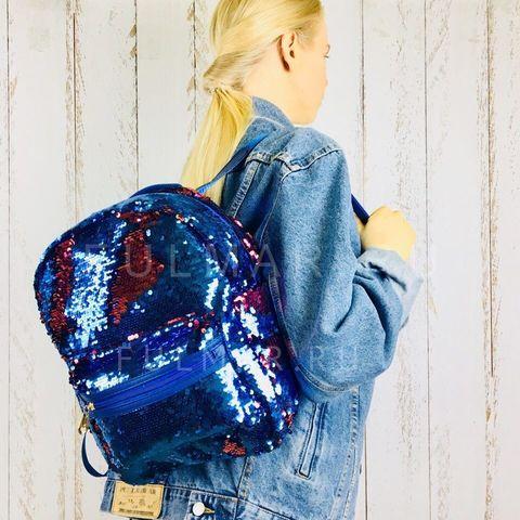 Рюкзак детский  с пайетками меняющий цвет Сине-Малиновый Большой