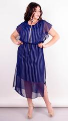 Фея. Платье плюс сайз для особого случая. Полоса+синий.