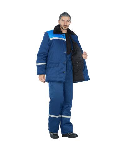 Куртка брюки Лидер  синие,голубые вставки