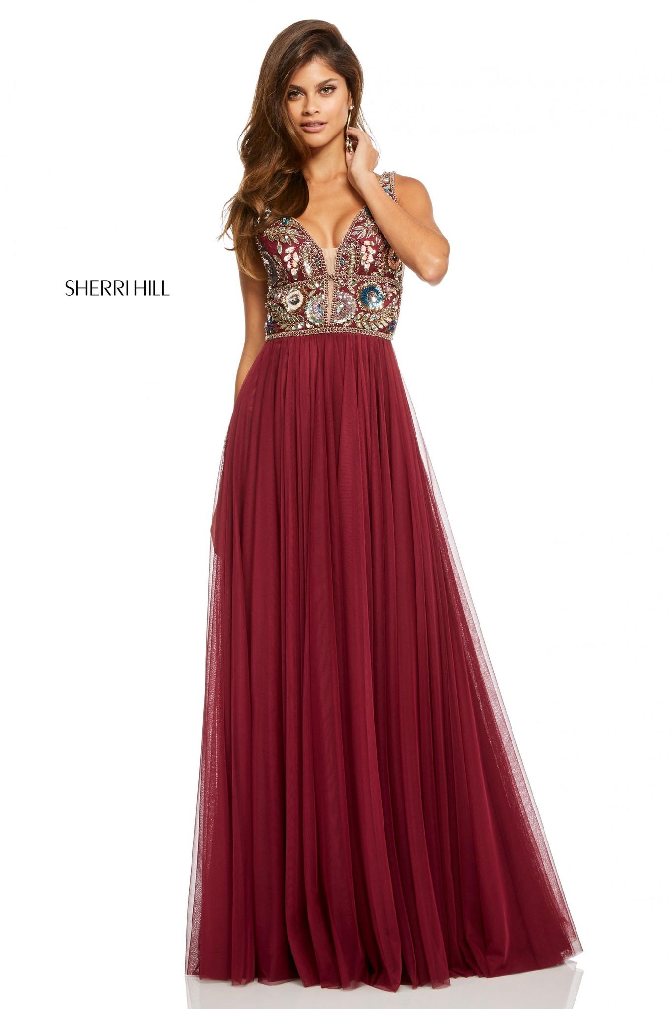 Sherri Hill 52473  Платье в пол, лиф украшен камнями, юбка длинная и пышная
