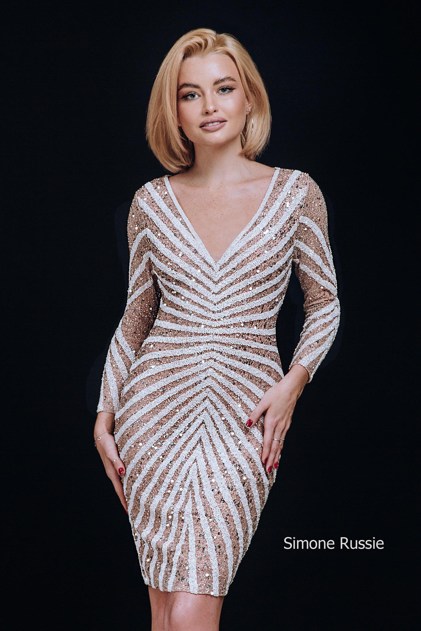 Simone Russie SR1949 Элегантное платье средней длины с рукавом