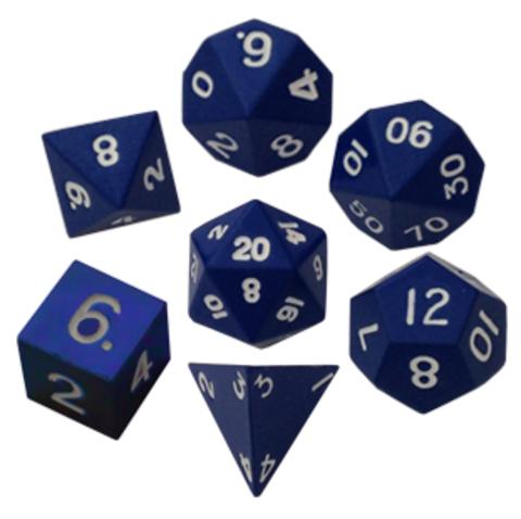 Набор синих разногранных металлических кубиков