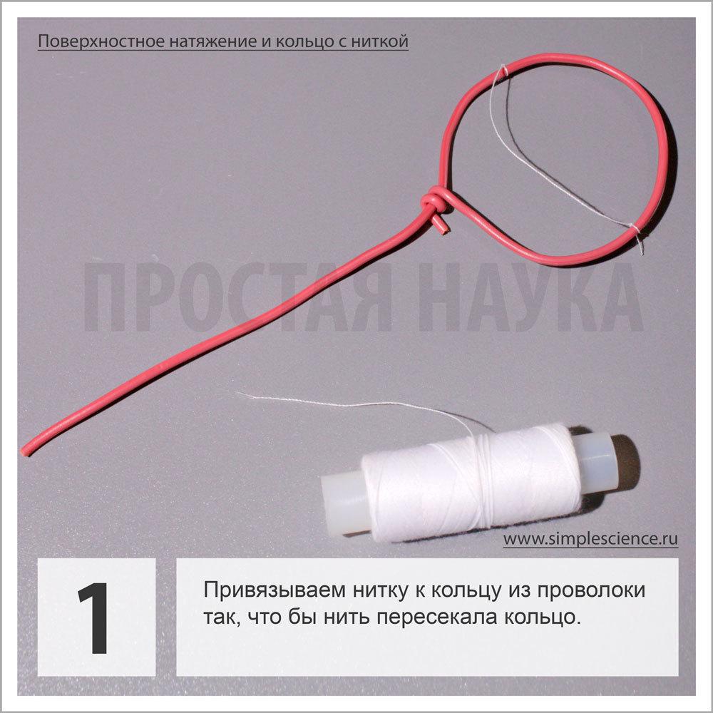 Привязываем нитку к кольцу из проволоки так, что бы нить пересекала кольцо.