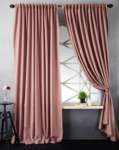 Портьеры рогожка Ибица розовый