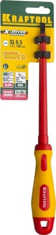 Отвертка KRAFTOOL, высоковольтная, Cr-Mo-V стержень, двухкомпонент. маслобензостойкая рукоятка, SL, 6,5х150мм