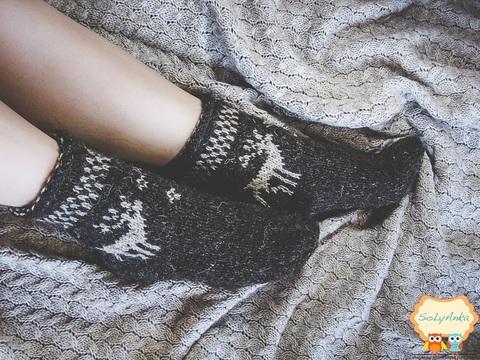 В'язані шкарпетки Олень 37 / 38р. Колір - шоколад.