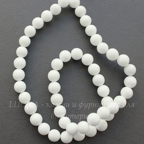 Бусина Жадеит, шарик, цвет- белый, 6 мм, нить (жадеит6)