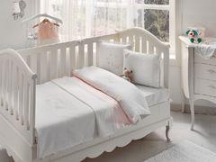 НАБОР ЯСЛИ Детское  постельное белье с пледом STORK BEBE розовый deluxe TIVOLYO HOME Турция
