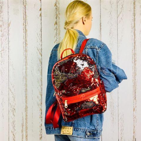 Рюкзак детский  с пайетками меняющий цвет Красно-серебристый Большой