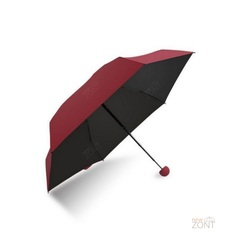Складной карманный зонтик mini бордовый с чёрным