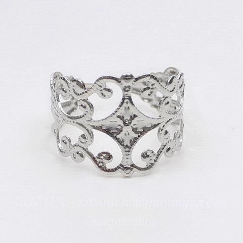 Основа для кольца с филигранью (цвет - платина)