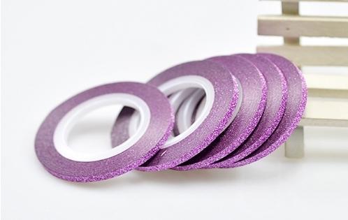 Лента самоклеющаяся розовый глиттер 3мм