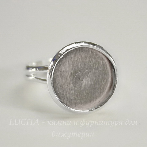 Основа для кольца с сеттингом для кабошона 12 мм (цвет - серебро)