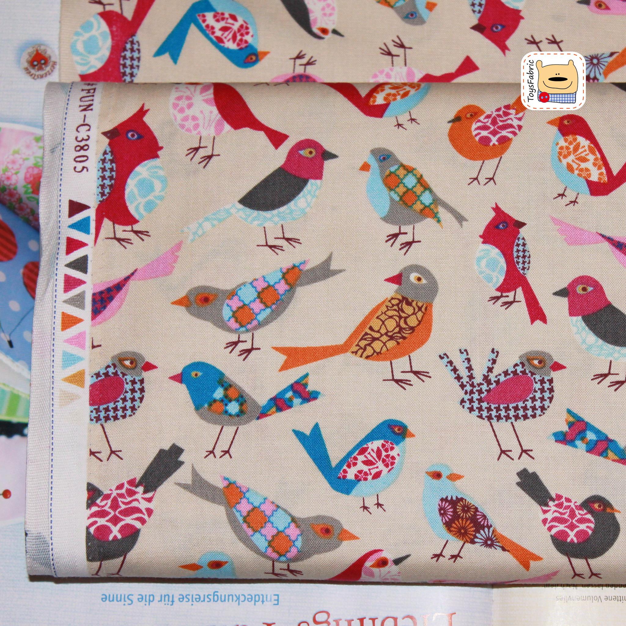 Ткань для пэчворка 20373 (птицы лоскутные) 45х55см