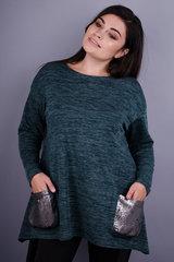 Евгения. Красивая туника для женщин с пышными формами. Изумруд.