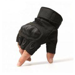 Тактические перчатки беспалые Карбон Черный