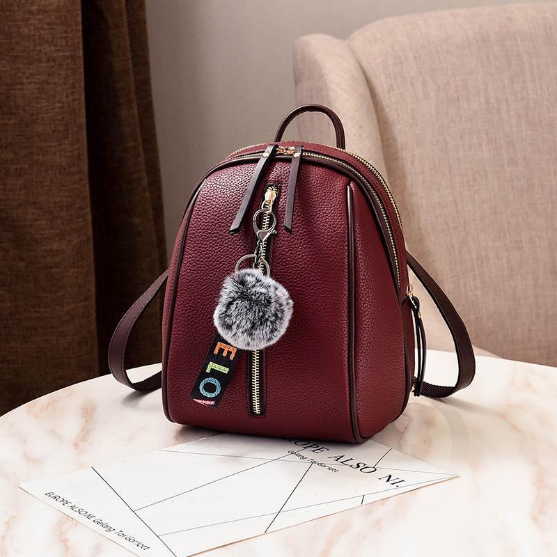 Женский маленький рюкзакок 18х24х12 см тёмно-красный 4378-5