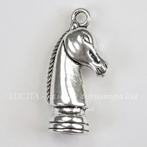 """Подвеска в виде шахматной фигуры """"Конь"""" (цвет - античное серебро) 27х8 мм"""