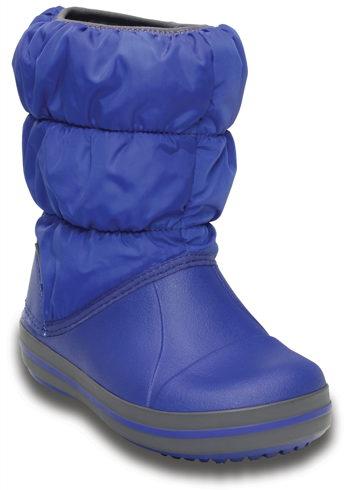 Зимние детские сапожки Crocs Winter Puff Boot Kids Cerulean Blue/Light Grey