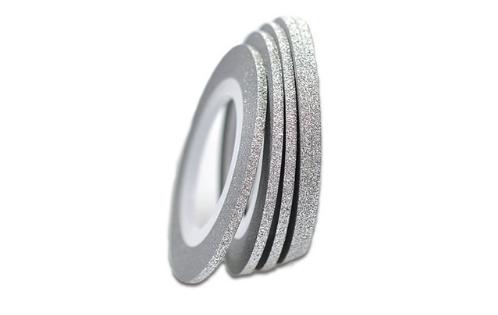 Лента самоклеющаяся серебро глиттер 2мм